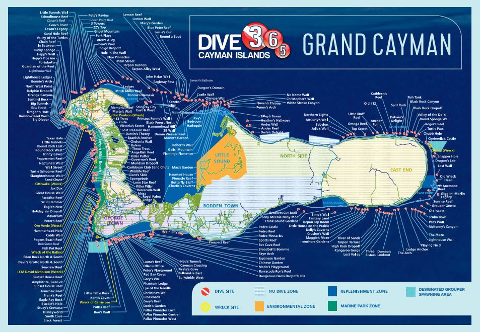 How many dive sites are there on Grand Cayman?