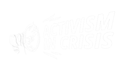 Activism in crisis logo, depicting a megaphone with the words 'activism in crisis' coming out from the logo like sound waves.