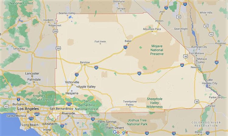 map of san bernardino county in southern california