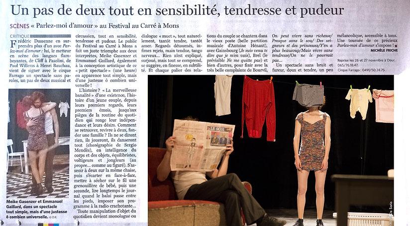 Parlez-moi d'amour ! un spectacle du cirque Farrago tout en sensibilité,tendresse et pudeur. www.cirquefarrago.be