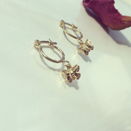 Aros Argolla Mariposa Bañada en Oro - Joyas de Mujer para Regalar