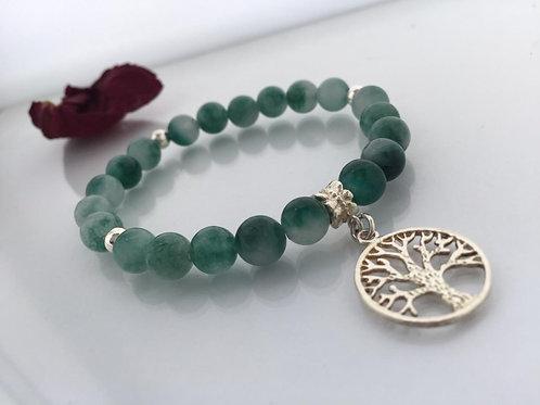 Pulsera Árbol de la Vida de Plata para Mujer- Piedra Jade