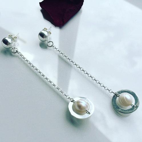 Aro Esfera, Perla de Plata para Mujer