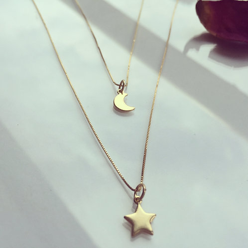 Colgante Media Luna - Estrella Gold Filled para Mujer