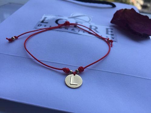 Pulsera Hilo Rojo Letra L Baño de Oro - Joyas de Mujer para Regalar