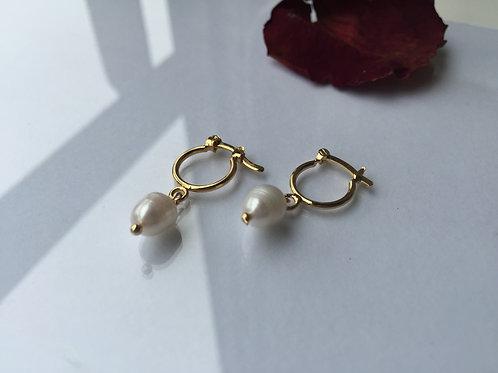 Aros Argolla Perla Baño de Oro - Joyas de Mujer para Regalar
