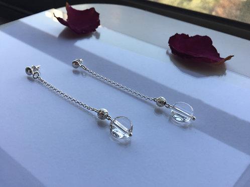 Aro Largo Brillante Cuarzo Cristal para Mujer