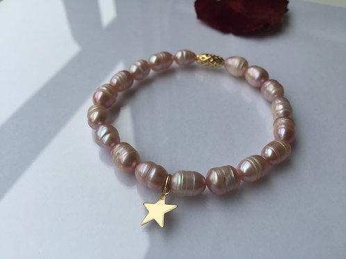 Pulsera Estrella Baño de Oro  para Mujer- Perla de Río Rosada