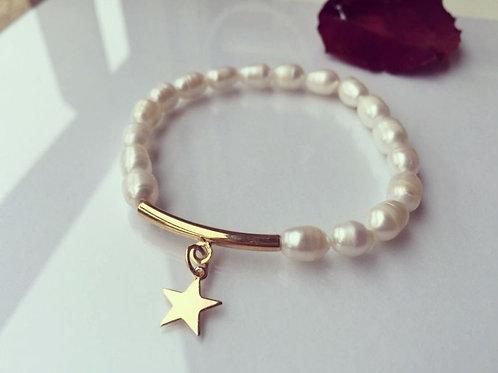 Pulsera Estrella Baño de Oro  para Mujer- Perla de Río