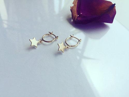 Aros Argolla Estrella Bañada en Oro - Joyas de Mujer para Regalar