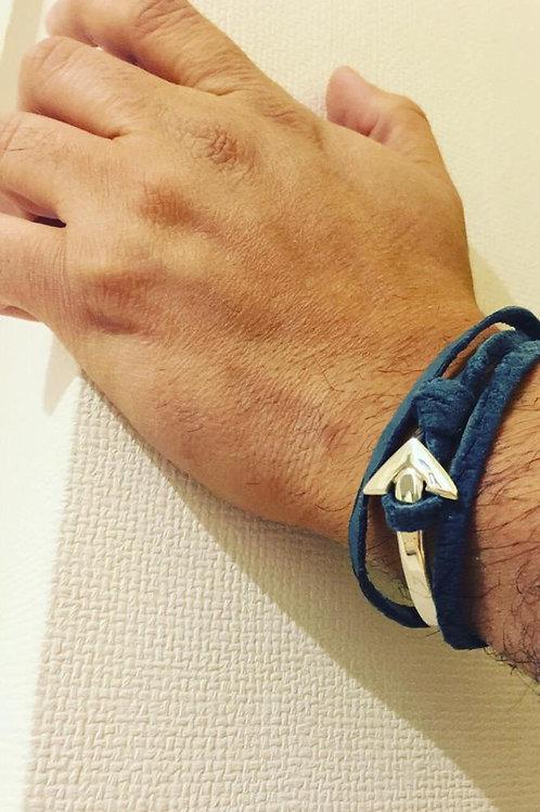 Pulsera de Plata Ancla para Hombre -Cuero Azul Acero