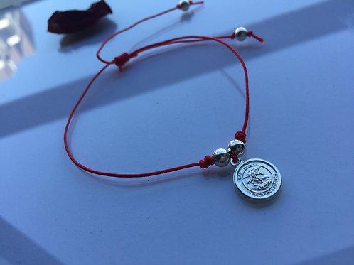 Pulsera Hilo Rojo San Miguel Arcángel Plata  - Joyas de Mujer para Regalar