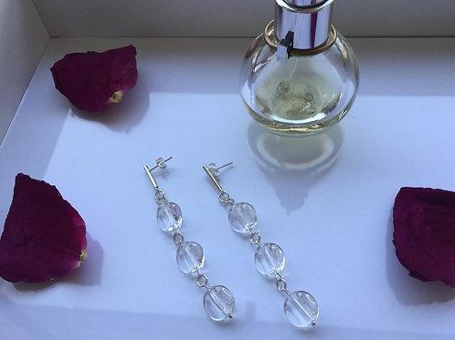 Aro Largo Piedra Triple Cuarzo Cristal para Mujer