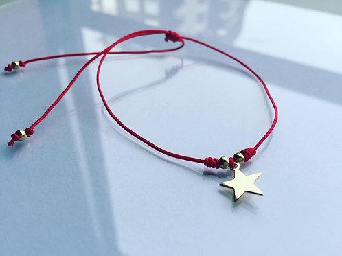 Pulsera Hilo Rojo Estrella Baño de Oro - Joyas de Mujer para Regalar