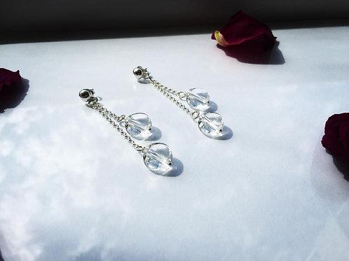 Aro Largo Piedra Doble Cuarzo Cristal para Mujer