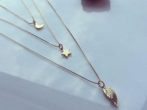 Colgante Alita - Estrella - Medialuna Bañada en Oro -Joyas de Mujer para Regalar