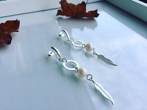 Aro de Pluma, Perla y Plata para Mujer