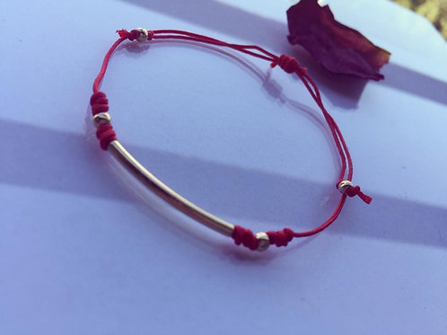 Copia de Pulsera Hilo Rojo Tubo Baño de Oro - Joyas de Mujer para Regalar