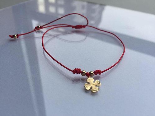Pulsera Hilo Rojo Trébol de la Suerte Baño de Oro - Joyas de Mujer para Regalar
