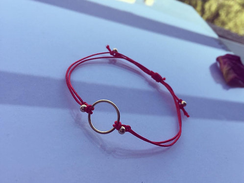 Pulsera Hilo Rojo Círculo Baño de Oro - Joyas de Mujer para Regalar