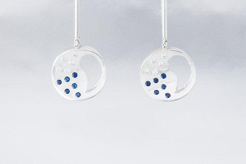 Aro de Plata Gota Fusión con Zircón Estrella-Azul
