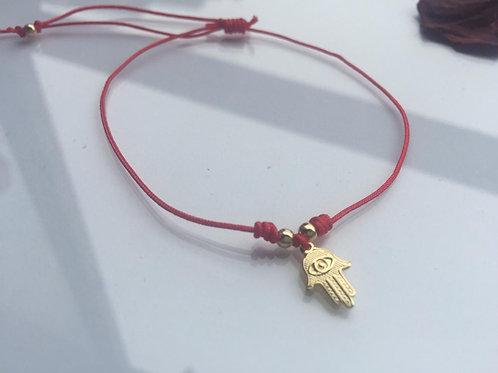 Pulsera Hilo Rojo Manito de Fátima Baño de Oro - Joyas de Mujer par