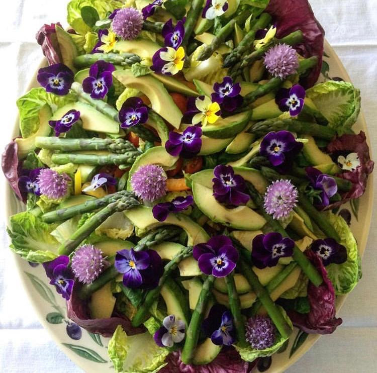 Summer salad with home grown violas and chive flowers