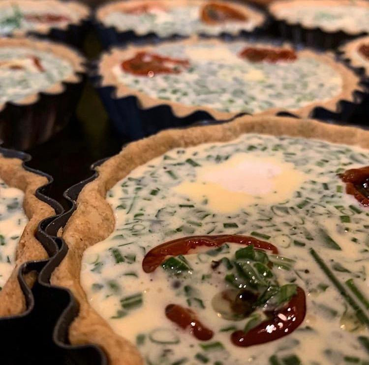 Fresh herb, oven dried piccolo tomato and feta tartlets