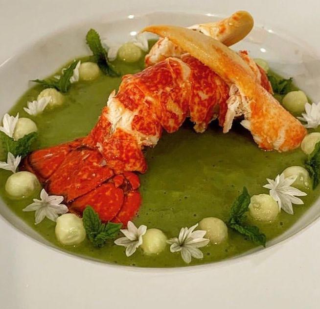 Donegal Lobster, pea & mint veloute, cornflower, cucumber