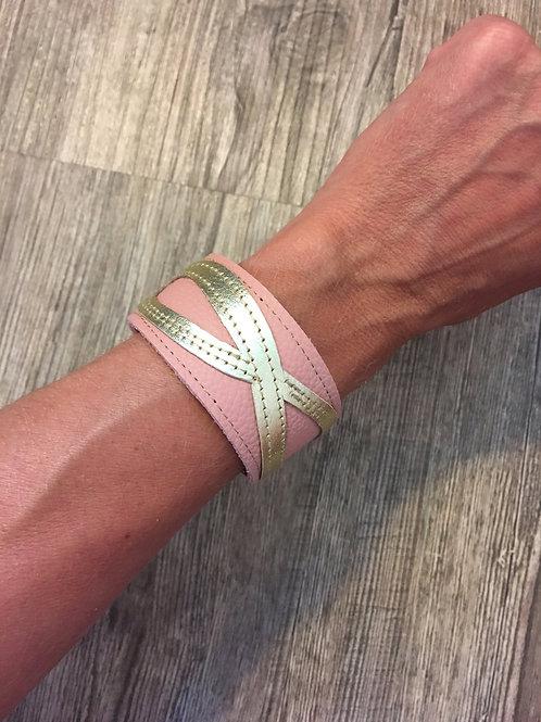 Armband rosa mit goldenem Infinity-Zeichen