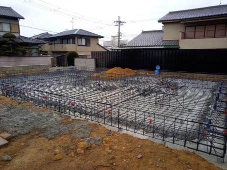 大阪 羽曳野の住宅  新築工事 基礎配筋検査