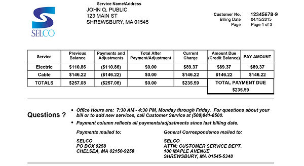 Billing Info Amp Definitions Shrewbury Electric And Cable