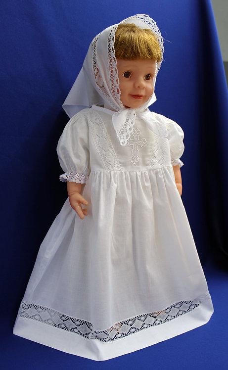 Крестильный комплект (платье удлиненное, косынка)