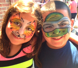 Cat and Ninja Turtle Face Painting