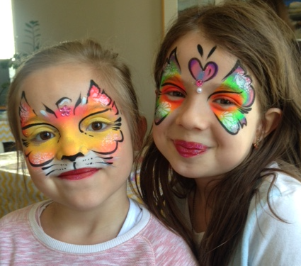 Bright Cat and Butterly Face Paintin