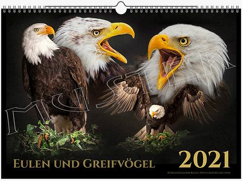 Eulen und Greifvogel Kalender 2021, A3, Kunstdruck