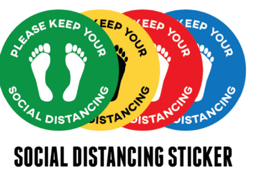 Red Social Distancing Stickers