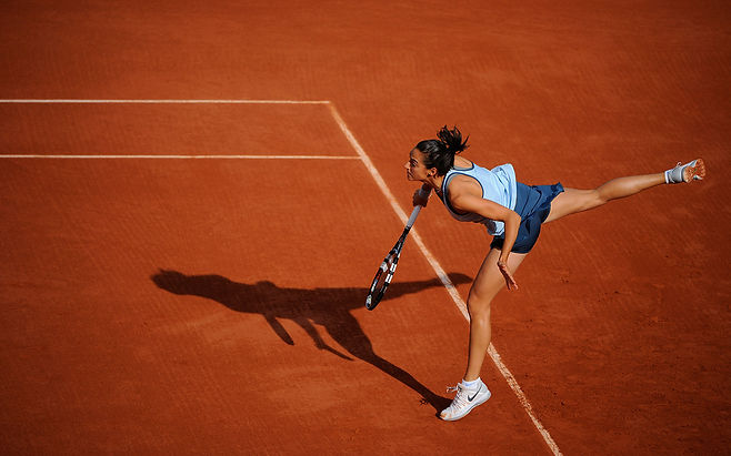 Caroline Garcia professional tennis player on clay court