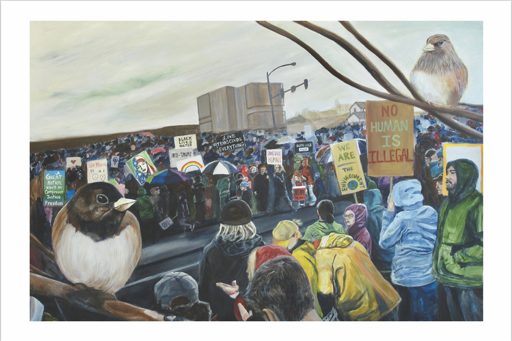 Women's March 2017 Painting by Megan Johns