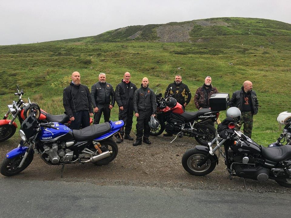 The chaps, just after riding through a fog bank heading into Reeth.
