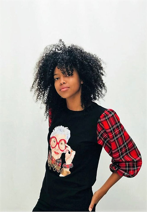 Camiseta IRIS APFEL tartán