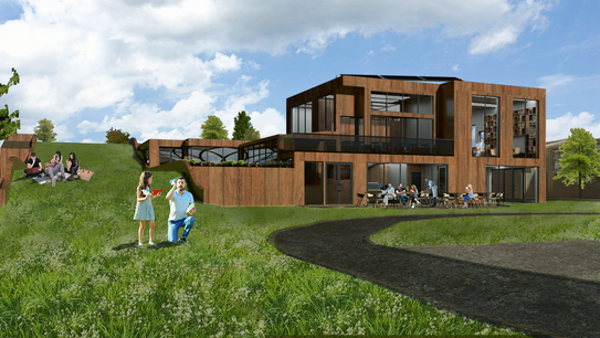 existing public park: access to green roof, library & cafe