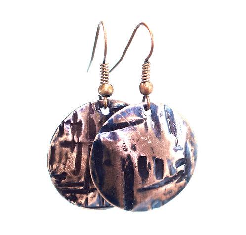 Copper Coin Earrings (Single Style 3)