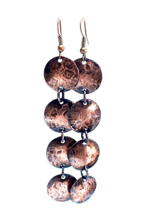 Copper Coin Dangle Earrings