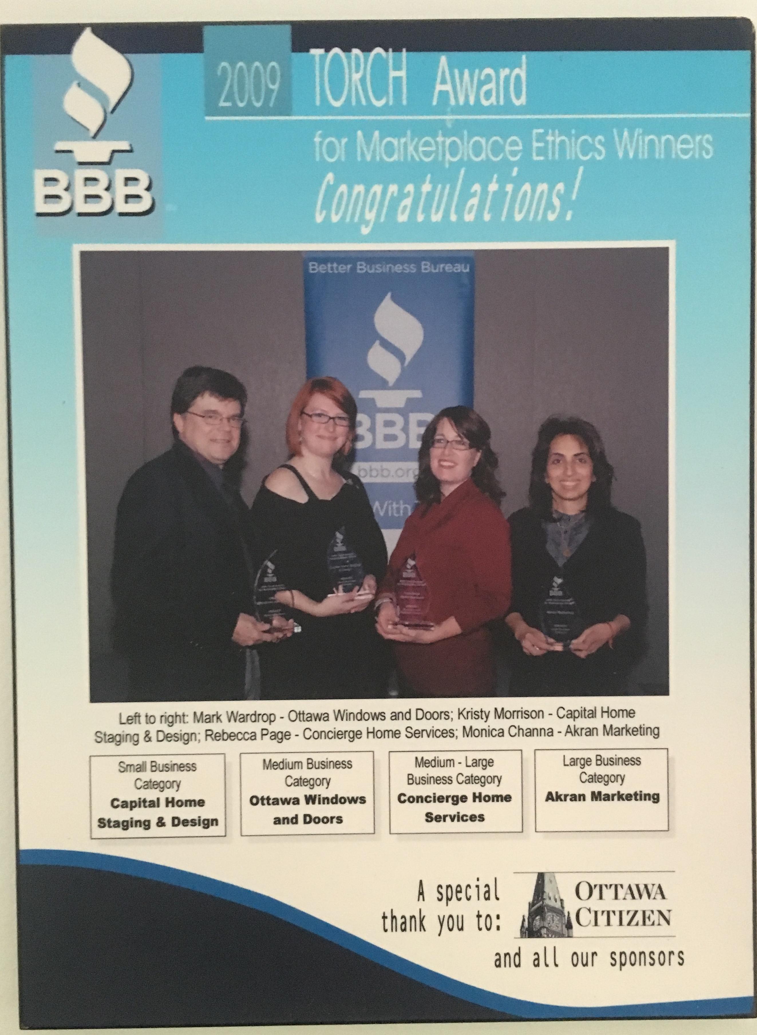 Kristy Won BBB Torch Award