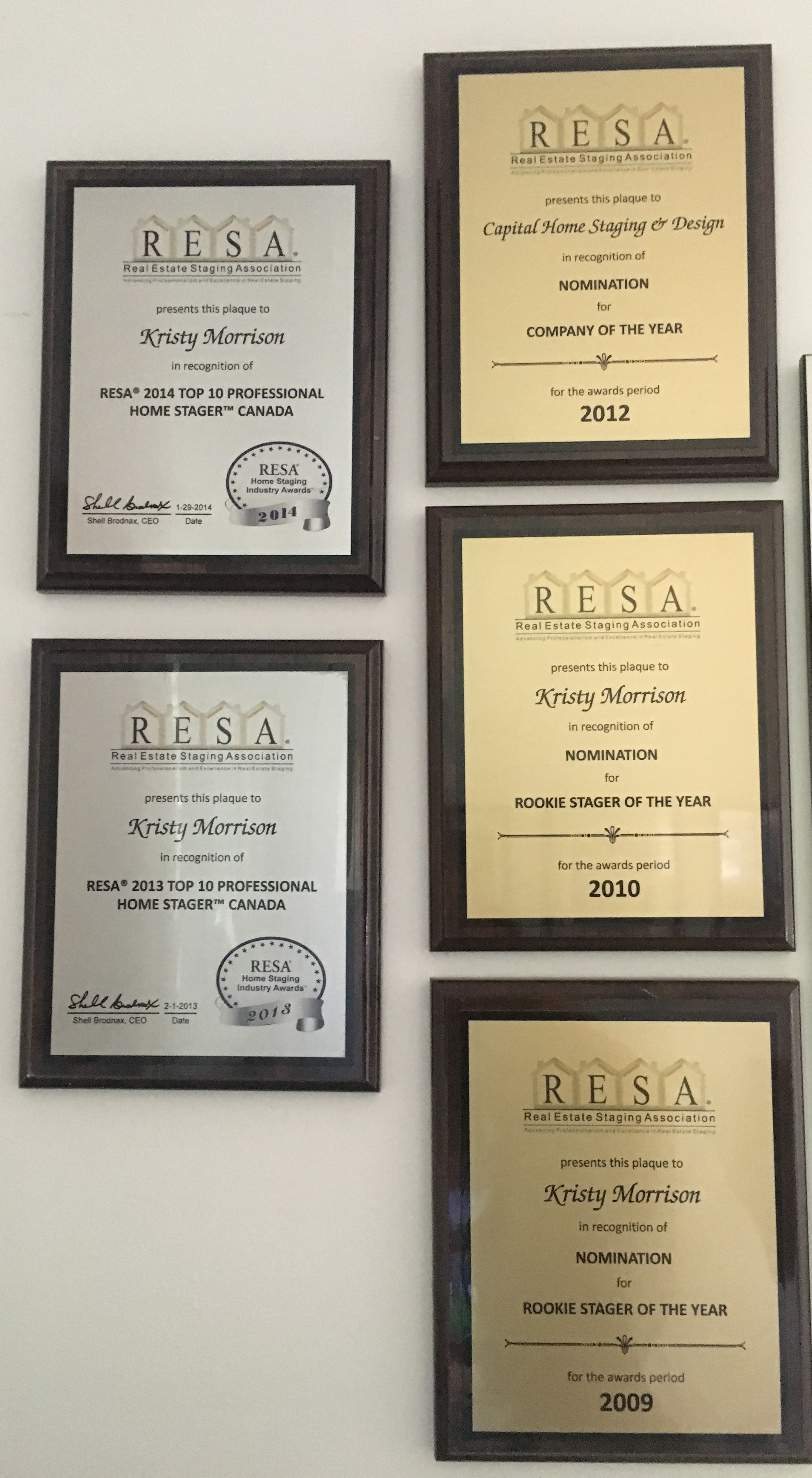 Kristy's Past Staging Awards