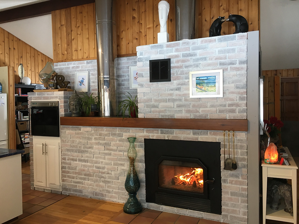 White Wash Brick Fireplace -AFTER w/ Kristy Morrison