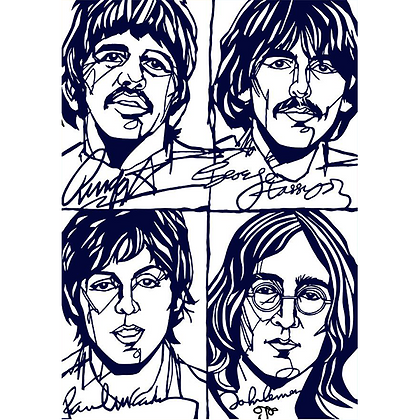 B&W The Beatles Print - the hippy years ~ different sizes