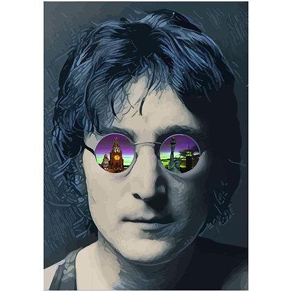 John Lennon Art on Glass