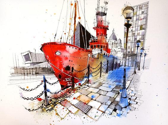Light Ship, Canning Dock,Original Painting